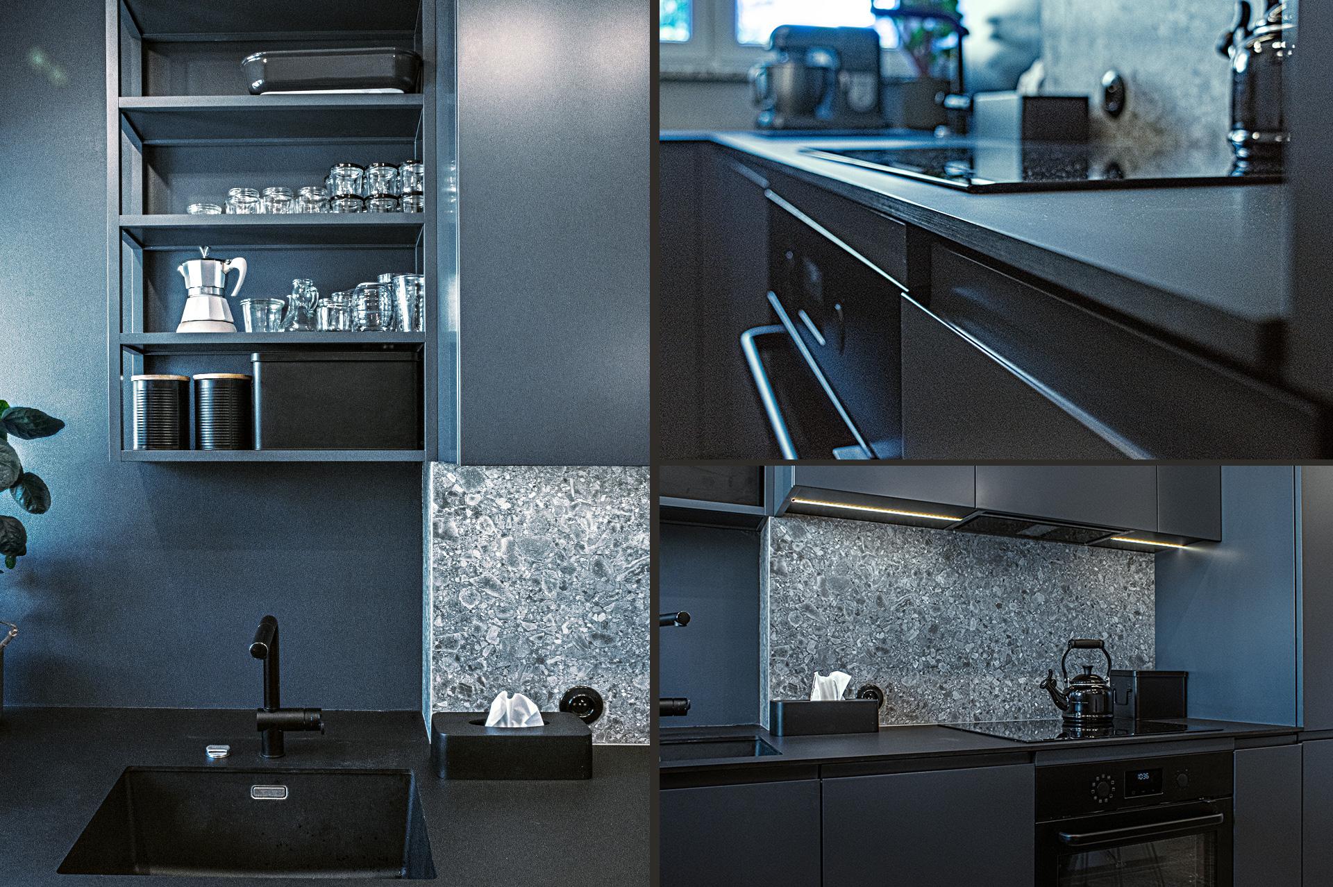 Kuchnię wyposażono w •wytrzymałe cienkie blaty kompaktowe, •dobrze oświetloną przestrzeń roboczą oraz •stosowną ilośćmiejsc przechowywania.