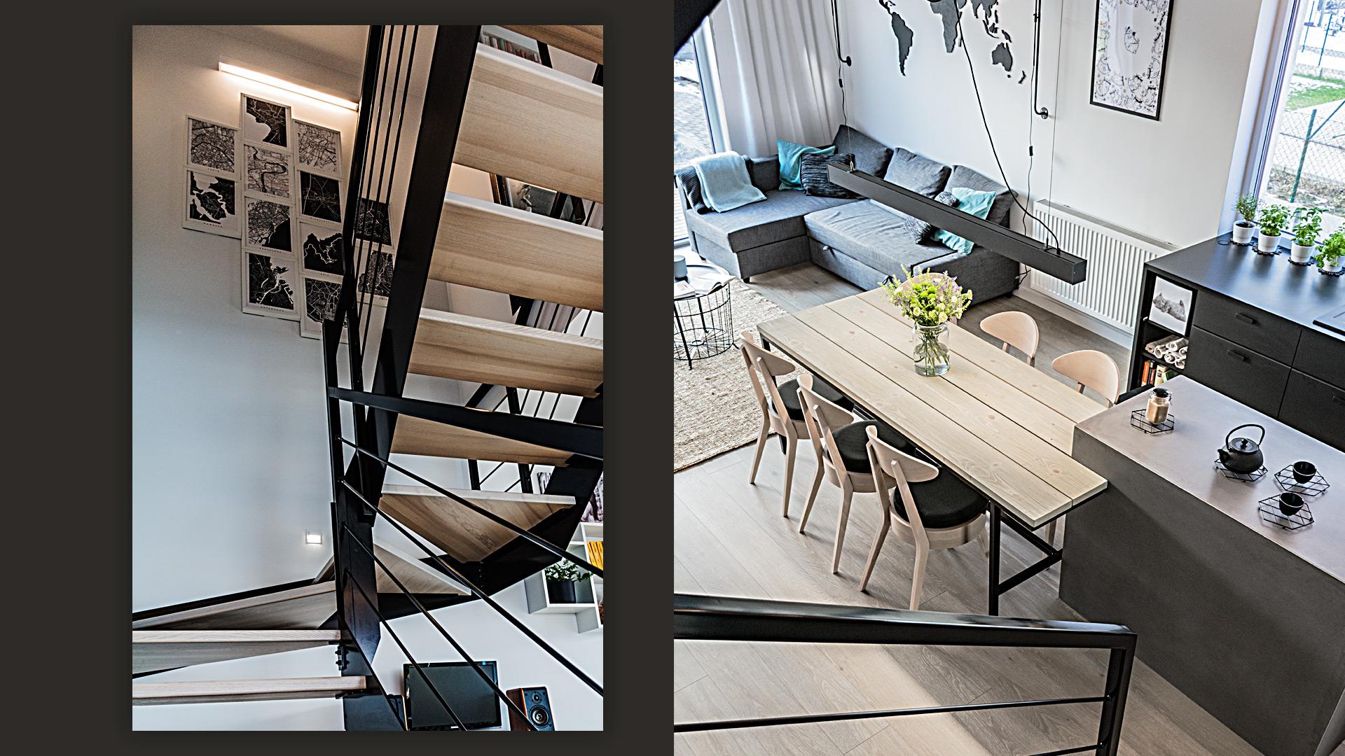 Zaprojektowane przez nas drewniane schody oraz rozpościerający się z nich widok z nich na salon.