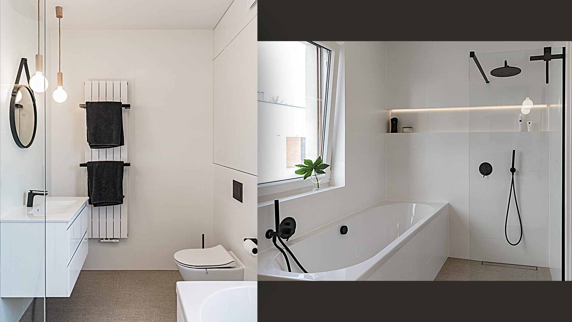 Łazienka przy sypialni ma minimalistyczny charakter – białe płytki ścienne optycznie znikają, na podłodze płytki imitujące sizalowy dywan, a całość dopełnia kontrastowa armatura.