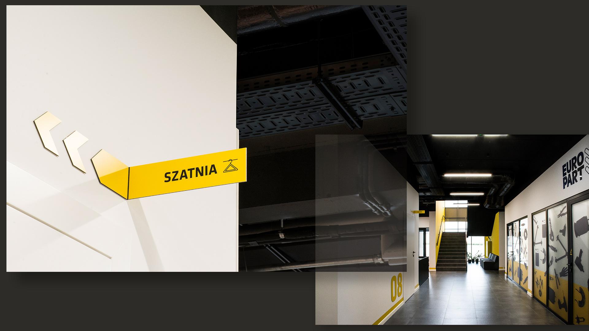 Po lewej  – tabliczka kierunkowa, jeden z elementów nawigacji wizualnej biurowca. Korytarze budynku zostały zaprojektowane w bieli i szarościach z delikatnymi akcentami firmowej żółci i czerni.