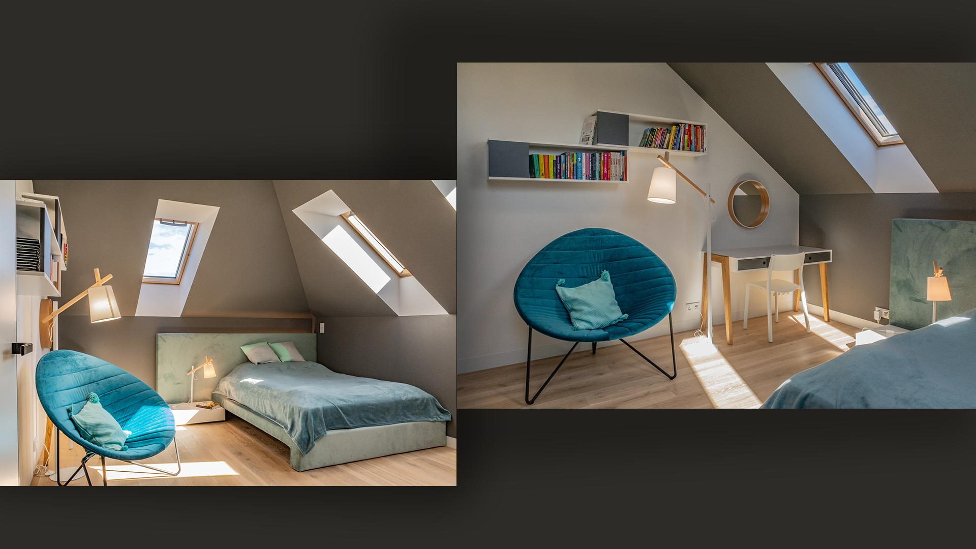 Sypialnia dla nastolatki na poddaszu –stonowana kolorystyka sprzyja wypoczynkowi i wyciszeniu.